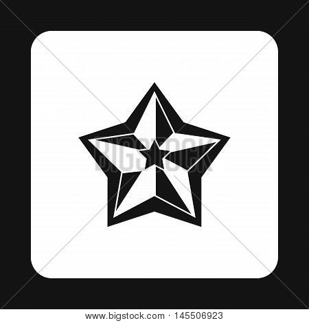 Five pointed celestial star icon in simple style isolated on white background. Figure symbol