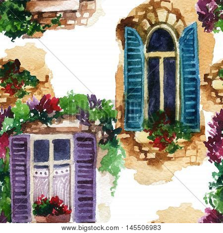 Watercolor traditional old-fashioned window with potted flowers brick stones. Rustic open windows with shutters on white background. Hand painted illustration for vintage design