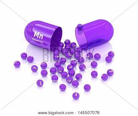 3D Rendering Of Manganese Pill Isolated Over White Background