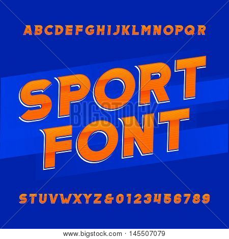 Oblique alphabet vector font. Sport style typeface for labels, titles, posters or sportswear transfers. Type letters, numbers and symbols on the blue background.