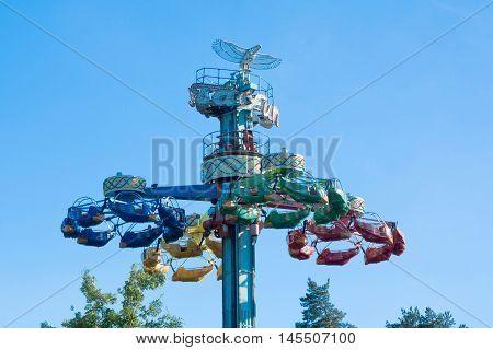 Kouvola, Finland 1 July 2015 - Ride Taifun In Motion In Amusement Park Tykkimaki