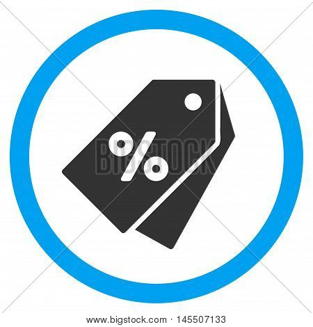 Percent Discount Tags vector bicolor rounded icon. Image style is a flat icon symbol inside a circle, blue and gray colors, white background.