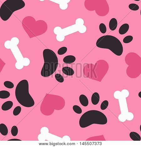 Dog paw trace silhouette with bones and pink heart seamless pattern. Good for textile and paper print, card, poster, another design. Cute funny love vector illustration. Pet logo.