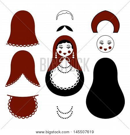 Russian traditional wooden toys, babushka, matryoshka, simple moldes set for handmade art. Vector illustration sewing elements. National culture. Retro doll background for adult coloring page book.