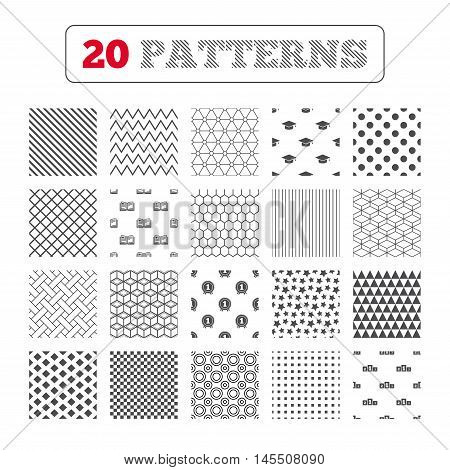 Ornament patterns, diagonal stripes and stars. Graduation icons. Graduation student cap sign. Education book symbol. First place award. Winners podium. Geometric textures. Vector