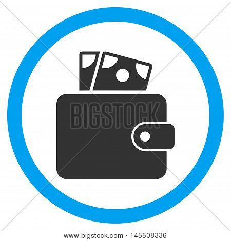 Wallet vector bicolor rounded icon. Image style is a flat icon symbol inside a circle, blue and gray colors, white background.