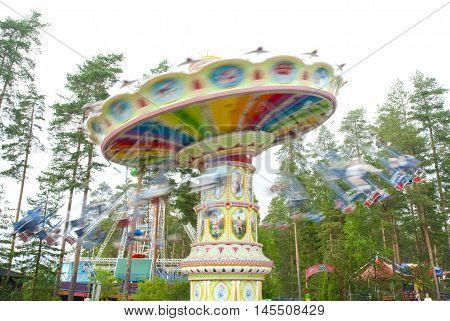 Kouvola, Finland 7 June 2016 - Ride Swing Carousel In Motion In Amusement Park Tykkimaki