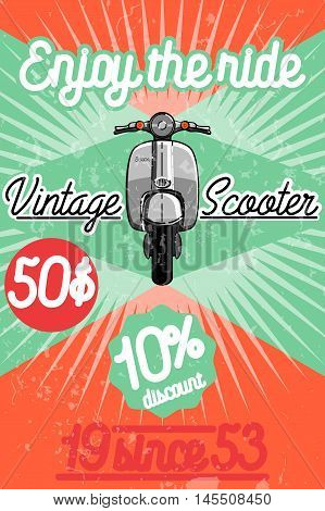 Color vintage scooter poster. Scooter travel concept.