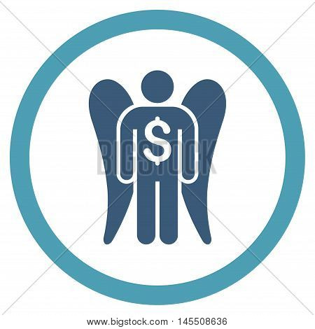 Angel Investor vector bicolor rounded icon. Image style is a flat icon symbol inside a circle, cyan and blue colors, white background.