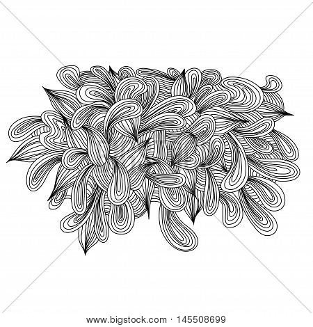 Hand drawn monochrome doodles pattern object. Scetch of background with abstract shapes illustration. EPS 10