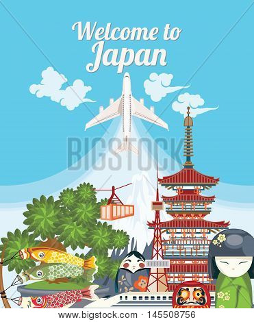 Gorgeous Japan travel poster - travel to Japan. Land of the rising sun. Vector illustration with Japanese travel place and landmark.