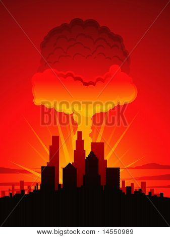 Mushroom cloud and city