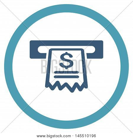 Cashier Receipt vector bicolor rounded icon. Image style is a flat icon symbol inside a circle, cyan and blue colors, white background.
