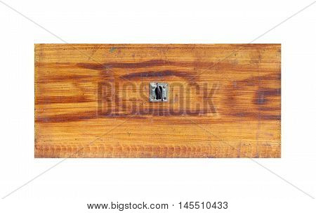 Detail of the old wooden drawer on white background - front view