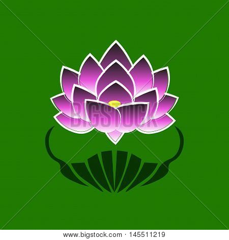 Purple stylized image of a lotus flower on a green background. The symbol of commitment to the Buddha in Japan. Vector illustration.