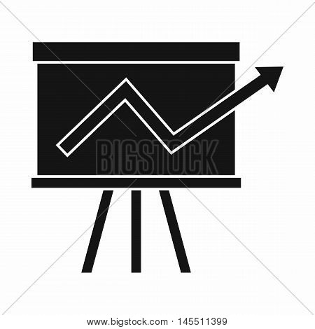 Flip chart with statistics icon in simple style isolated on white background. Information symbol