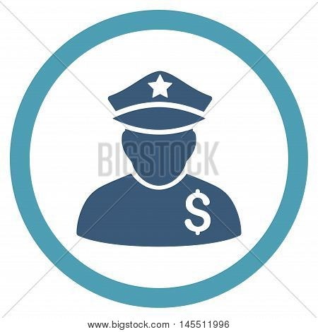 Financial Policeman vector bicolor rounded icon. Image style is a flat icon symbol inside a circle, cyan and blue colors, white background.