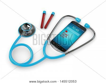Blue Stethoscope And Mobile Phone With Blood Test Alert