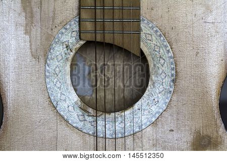 Wooden Soundboard of the Vintage guitar as background