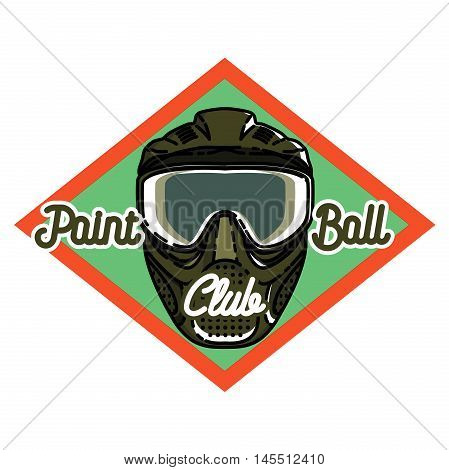 Color vintage paintball emblem - mask and paint blots and splashes