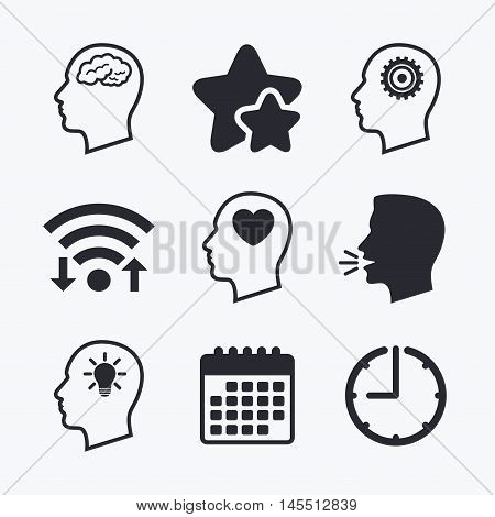 Head with brain and idea lamp bulb icons. Male human think symbols. Cogwheel gears signs. Love heart. Wifi internet, favorite stars, calendar and clock. Talking head. Vector