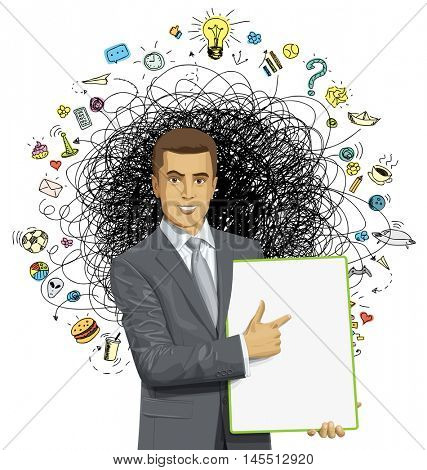 Vector businessman holding empty write board in his hands