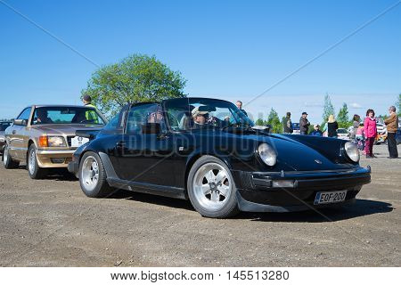 KERIMYAKI, FINLAND - JUNE 06, 2015: Car Porsche 911 body type Targa at the exhibition and parade of vintage cars