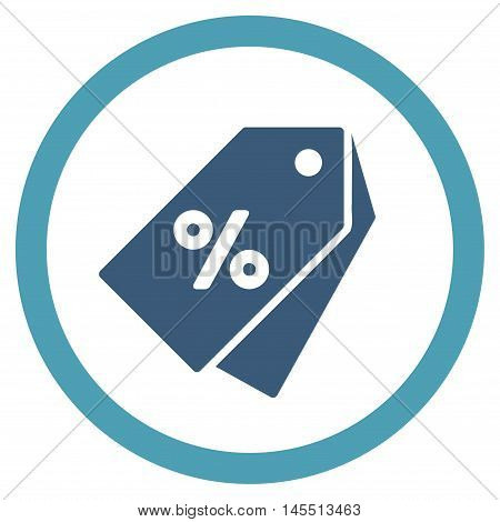Percent Discount Tags vector bicolor rounded icon. Image style is a flat icon symbol inside a circle, cyan and blue colors, white background.