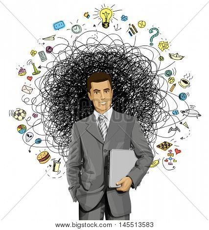 Vector business man in suit with laptop in his hands