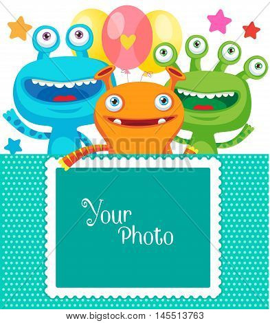 Monster Party Invitation Card Design With Place For Photo. Vector Cartoon Illustration. Frame for photo. Small Alien Creature.