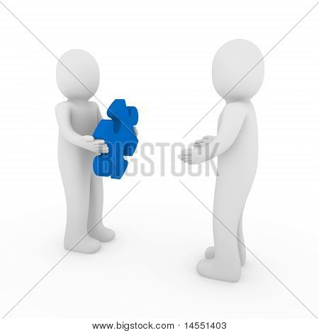 3D Men Puzzle Blue Teamwork