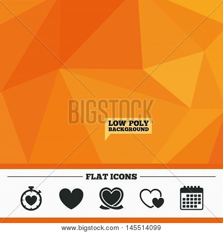 Triangular low poly orange background. Heart ribbon icon. Timer stopwatch symbol. Love and Heartbeat palpitation signs. Calendar flat icon. Vector