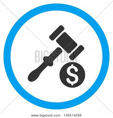 Auction vector bicolor rounded icon. Image style is a flat icon symbol inside a circle, blue and gray colors, white background.