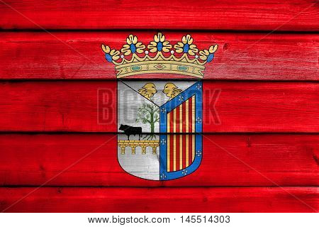 Flag Of Salamanca, Spain, Painted On Old Wood Plank Background