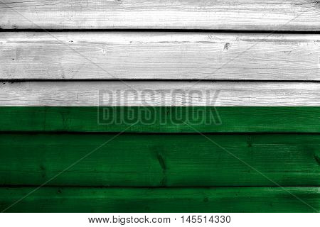 Flag Of San Andres De Tumaco, Colombia, Painted On Old Wood Plank Background