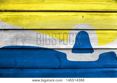 Flag Of San Luis Obispo, California, Usa, Painted On Old Wood Plank Background