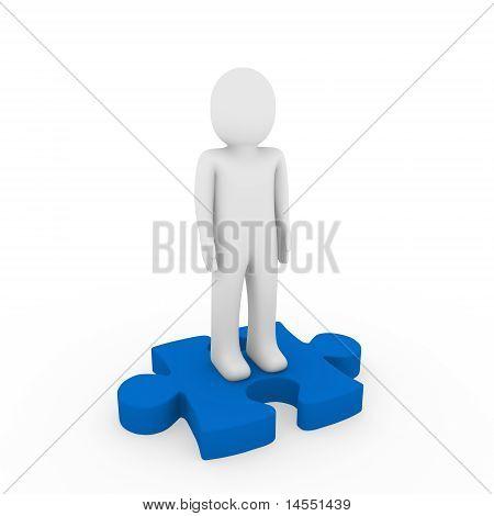 3D Human Puzzle Blue