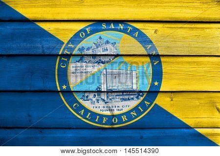 Flag Of Santa Ana, California, Usa, Painted On Old Wood Plank Background