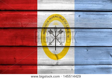 Flag Of Santa Fe Province, Argentina, Painted On Old Wood Plank Background