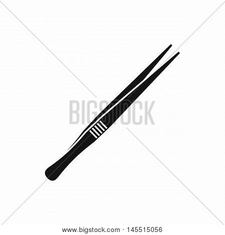 Tweezers icon in simple style isolated on white background. Tool symbol
