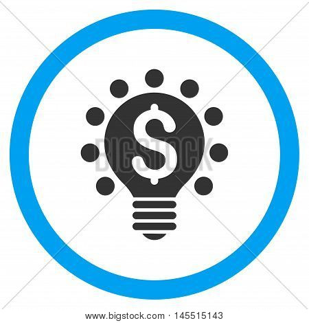 Business Patent Bulb vector bicolor rounded icon. Image style is a flat icon symbol inside a circle, blue and gray colors, white background.