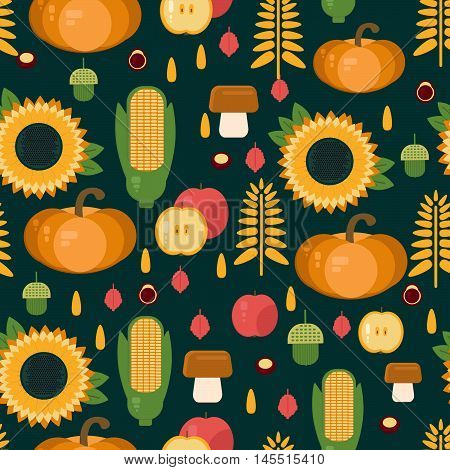 Autumn harvest seamless pattern. Vector background with fruits vegetables mushrooms and nuts. Backdrop for markets shops wallpaper.