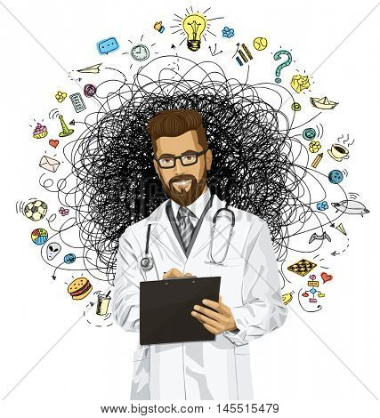 Vector hipster doctor man writing something with marker on clipboard