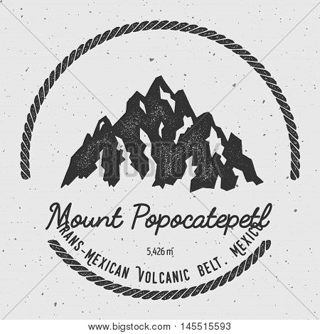 Popocatepetl In Trans-mexican Volcanic Belt, Mexico Outdoor Adventure Logo. Round Hiking Vector Insi