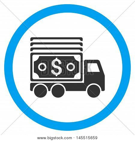 Cash Lorry vector bicolor rounded icon. Image style is a flat icon symbol inside a circle, blue and gray colors, white background.