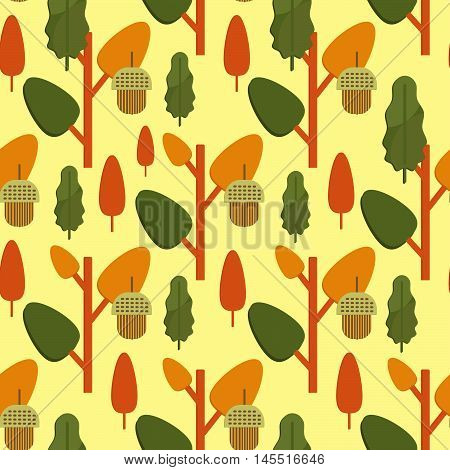 Autumn foliage concept seamless pattern. Fall theme background with leaves and acorns in flat style. Flat vector illustration.