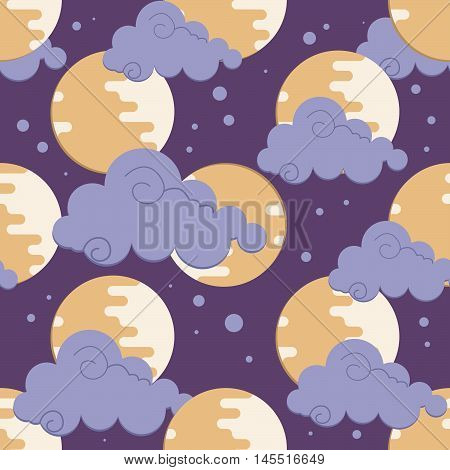 Moon in clouds pattern for chinese mid autumn festival. Children's room decoration seamless pattern. Vector illustration for textile print wallpaper.