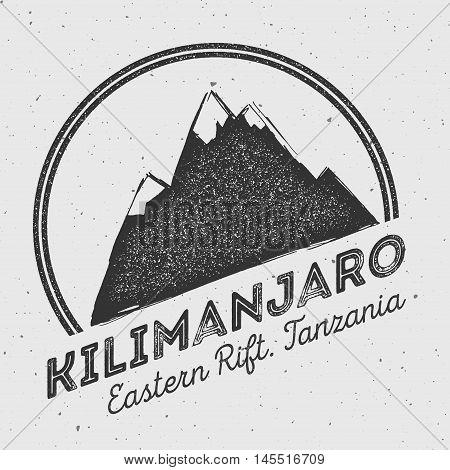 Kilimanjaro In Eastern Rift, Tanzania Outdoor Adventure Logo. Round Mountain Vector Insignia. Climbi
