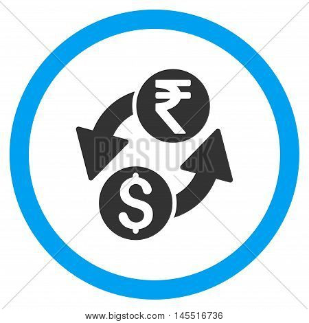 Dollar Rupee Exchange vector bicolor rounded icon. Image style is a flat icon symbol inside a circle, blue and gray colors, white background.
