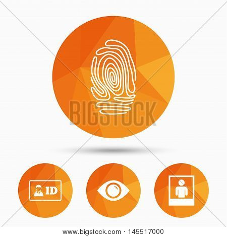 Identity ID card badge icons. Eye and fingerprint symbols. Authentication signs. Photo frame with human person. Triangular low poly buttons with shadow. Vector